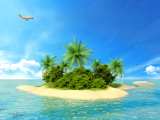 Tropical island in the ocean with a boat and plane