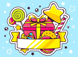 Vector illustration of gift box and sweets with ribbon on blue b