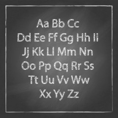Vector chalk sketched characters abc