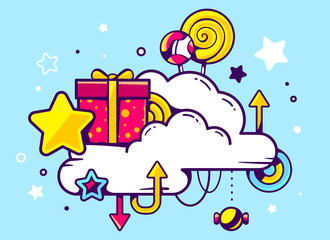 Vector illustration of gift box and confection with cloud on blu