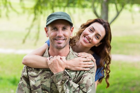 Handsome soldier reunited with partner