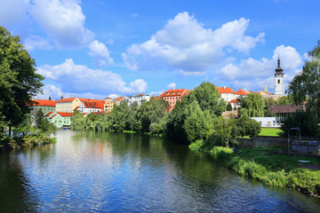 Colorful medieval Town Pisek above the river Otava