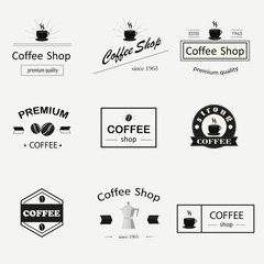 Retro coffee logotypes set. Vintage badges and labels set