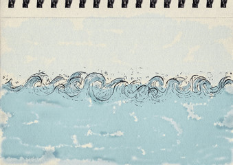 Waves, ink and watercolor, notebook artwork