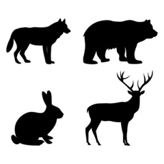 Set of silhouettes of wild animals on a white background