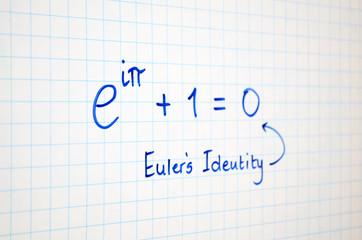 Euler's Identity written on white board
