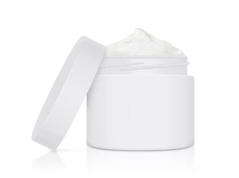 White cream jar open lid on isolated