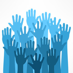 Raised hands on white, vector illustration