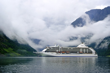Mountains and fjord Gudvangen, Norway. Regent Cruise Ship