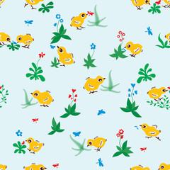 Baby birds seamless pattern background
