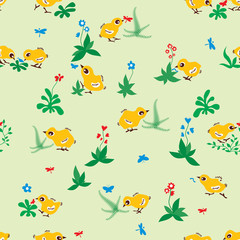 Baby birds seamless pattern background