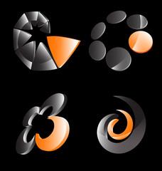 Orange gray business icon set