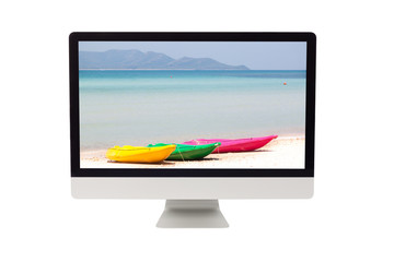 Summer sea with colorful kayak on computer monitor