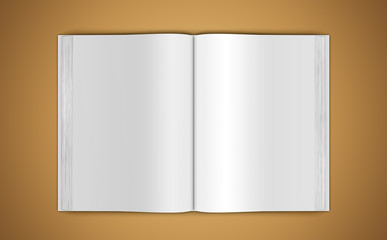 Mock-up of an open book on beige background