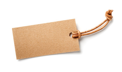 paper label with leather cord