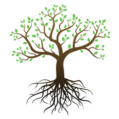 Color tree with roots and green leafs - vector image.