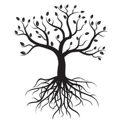 Black tree with roots - vector image.