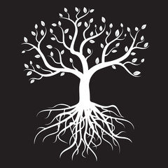White tree with roots and leafs - vector image.