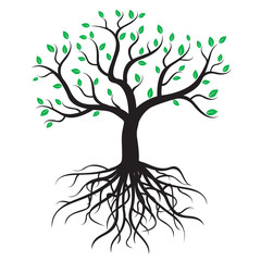 Black tree with roots and green leafs - vector image.