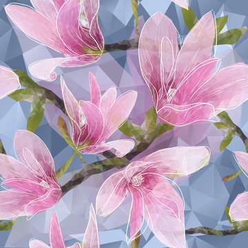 Seamless background with blooming magnolia flowers in triangles