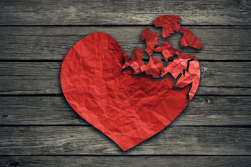 Broken heart breakup concept separation and divorce icon