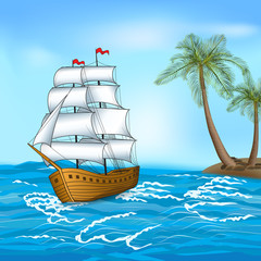 vintage sailing ship in the sea against the backdrop of palm tre