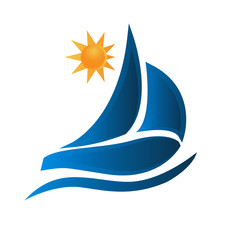Boat waves and sun ocean beach logo picture vector icon