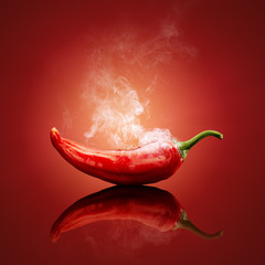 Photo sur cadre textile Hot chili Peppers Chili red steaming hot