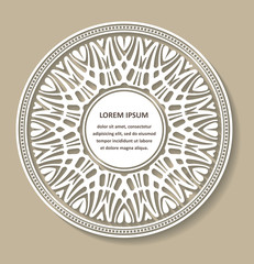 Circle lace ornament, round ornamental geometric doily pattern w