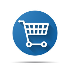 blue flat shopping cart icon - vector illustration