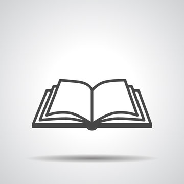 Open book vector icon on a grey background