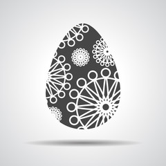 Easter egg sign icon with abstarct flowers. Easter tradition sym