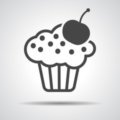 black cake icon with cherry