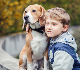 Boy with beagle portrait