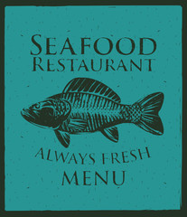 Vector banner with a picture of fish and seafood restaurant sign
