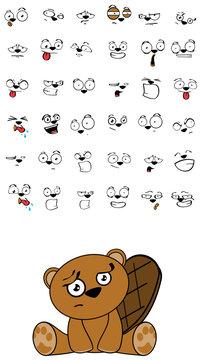 cute beaver expressions cartoon set in vector format