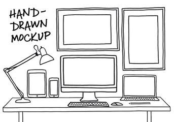 hand-drawn studio mockup with computer, vector
