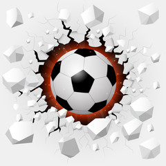 Soccer ball with cracked background