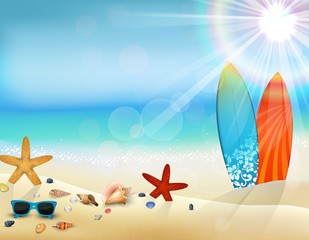 Holiday in beach on the summer with surfboard