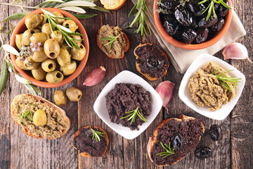 assorted olives and tapenade
