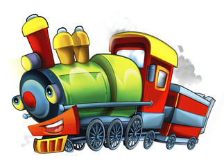 Cartoon steam train - caricature - illustration