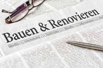 Zeitung mit der Überschrift Bauen und Renovieren