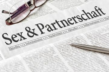 Zeitung mit der Überschrift Sex und Partnerschaft