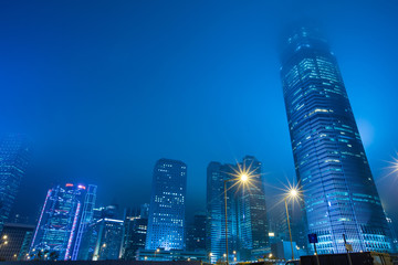 Fotomurales - Hong Kong Business District at Night