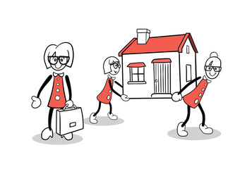 Cute cartoons carrying a house