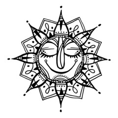 Hand drawn summer sun tribal background