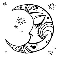 Hand drawn night moon tribal background