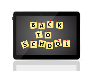 Black Tablet PC with Back to School Vector Illustration