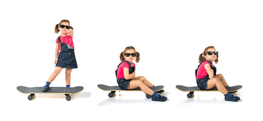 Blonde kid with skate over white background