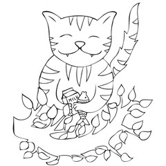 Happy cat holding glass of milk and fish bone vector